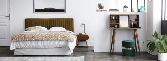 Ambiance Chambre avec tete de lit en velours