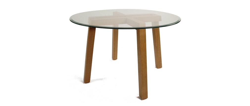 La table ronde plateau verre dalton pieds ch ne malaisien ch ne clair miliboo - Table ronde plateau verre ...