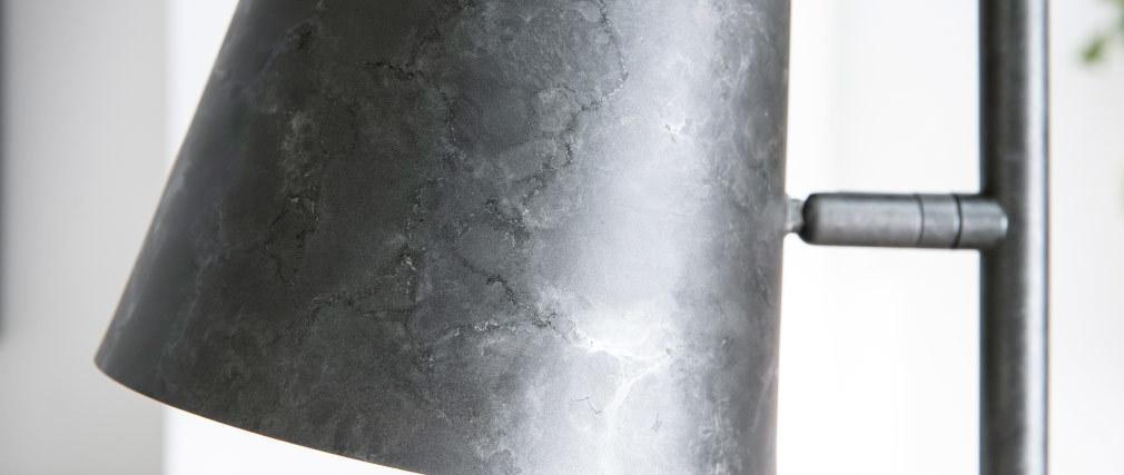 Lampadaire avec abat-jour réglable métal argent vieilli BELL
