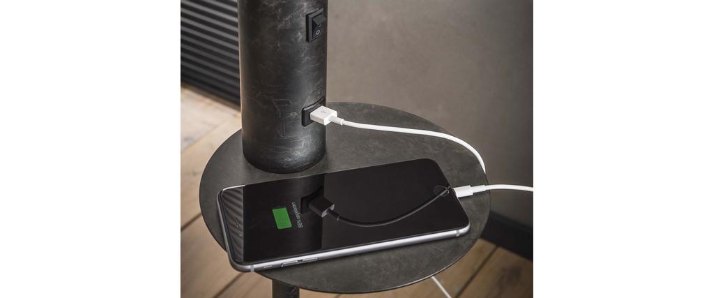 Lampadaire avec chargeur USB en métal carbone DARYL