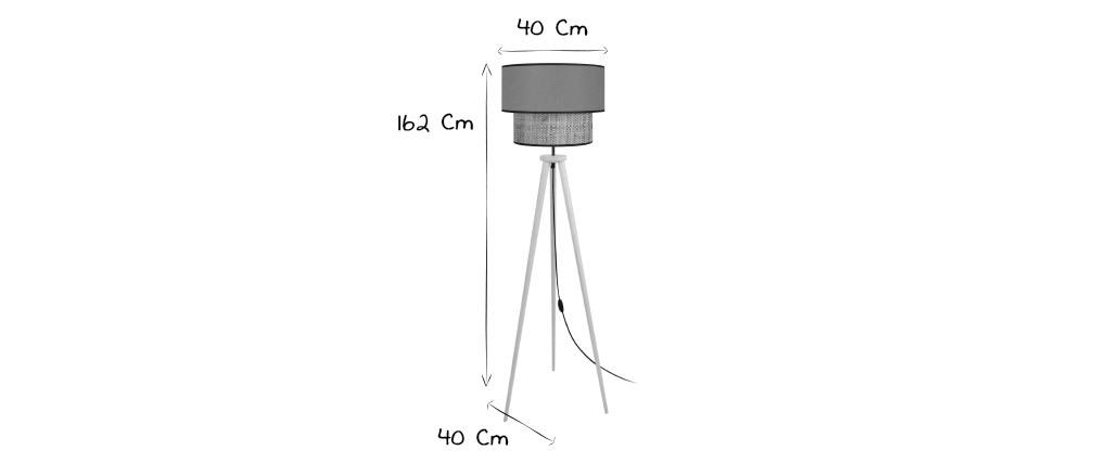 Lampadaire bimatière jute et tissu kaki D40 cm CHILL