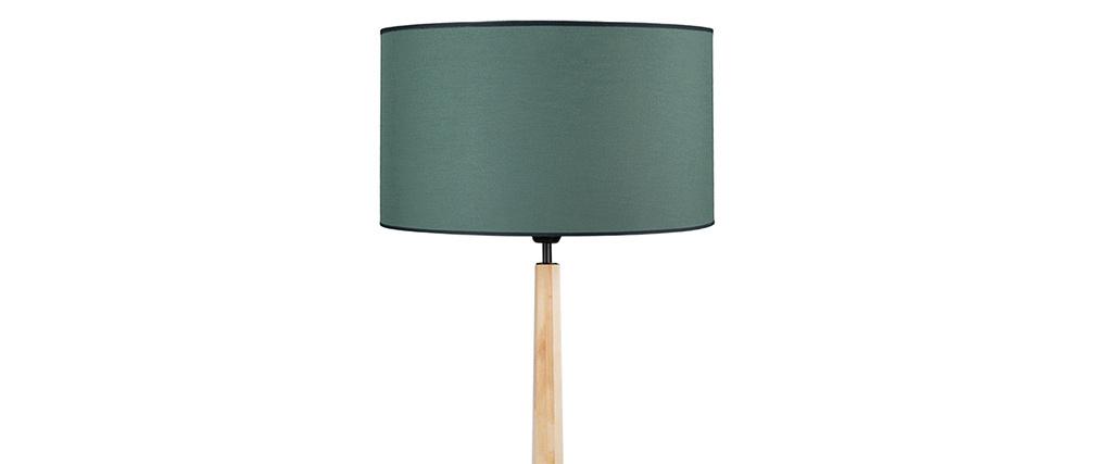Lampadaire bleu grisé avec pied bois NIDRA