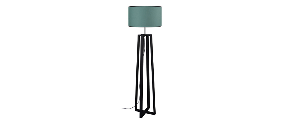 Lampadaire bleu grisé avec piètement croisé bois noir MANON