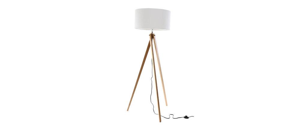 Lampadaire Bois Et Blanc : Lampadaire design abat-jour blanc et pied bois clair HELIA, aspect