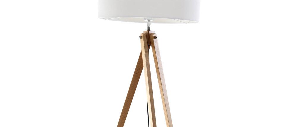 lampadaire design abat jour blanc et pied bois clair helia. Black Bedroom Furniture Sets. Home Design Ideas