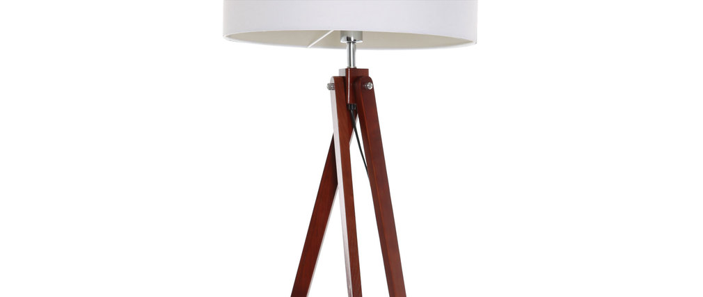 Lampadaire design abat-jour blanc et pied bois foncé HELIA