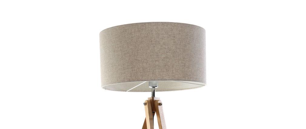 Lampadaire design abat-jour coloris lin naturel et pied bois clair HELIA