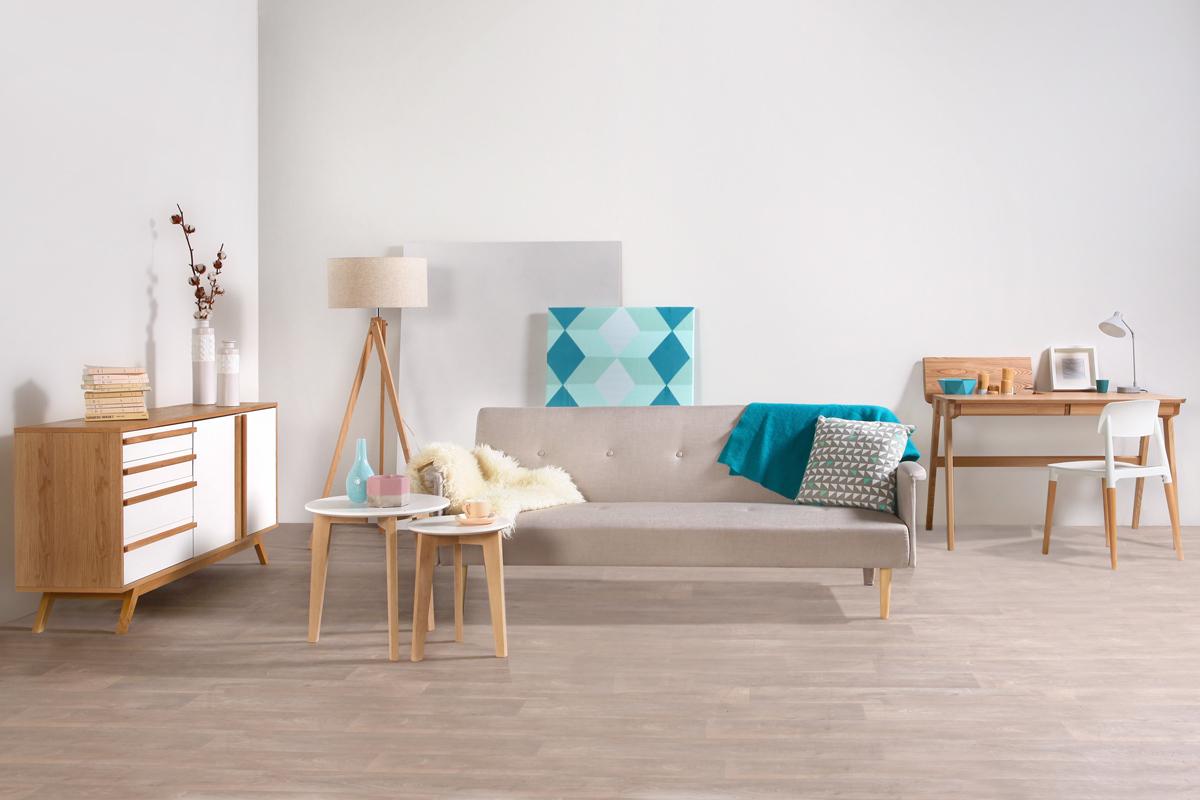 lampadaire design abat jour coloris lin naturel et pied bois clair helia miliboo. Black Bedroom Furniture Sets. Home Design Ideas