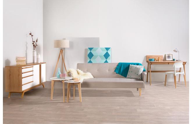 Lampadaire Bois Et Blanc : Lampadaire design abat-jour coloris lin naturel et pied bois clair