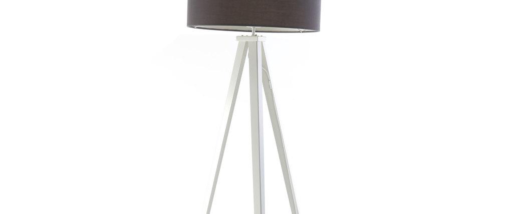 Lampadaire design abat-jour gris anthracite et pied blanc GIOIA