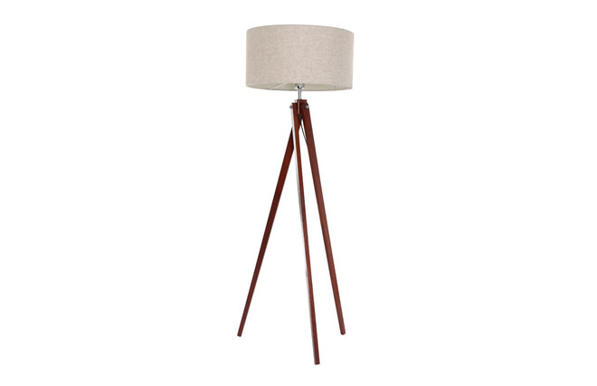 lampadaire design abat jour lin naturel et pied bois fonc. Black Bedroom Furniture Sets. Home Design Ideas