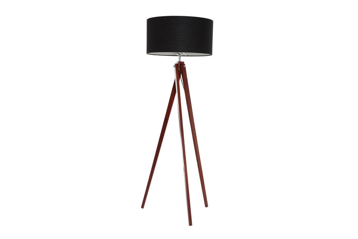 Lampadaire design abat-jour noir et pied bois foncé HELIA