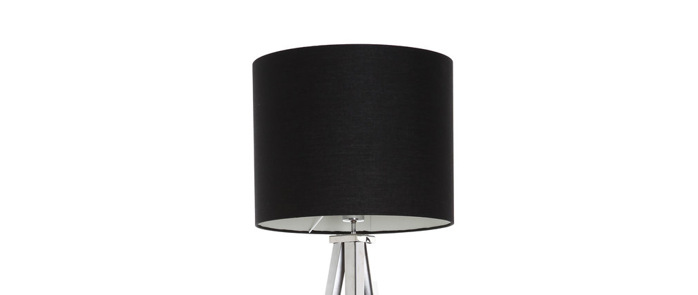 lampadaire design abat jour noir et pied chrome gioia. Black Bedroom Furniture Sets. Home Design Ideas
