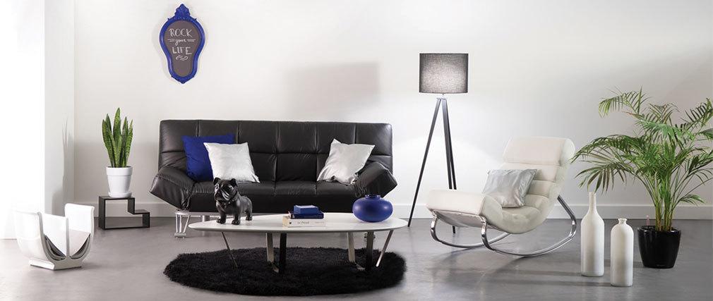 Lampadaire design abat-jour noir et pied noir GIOIA