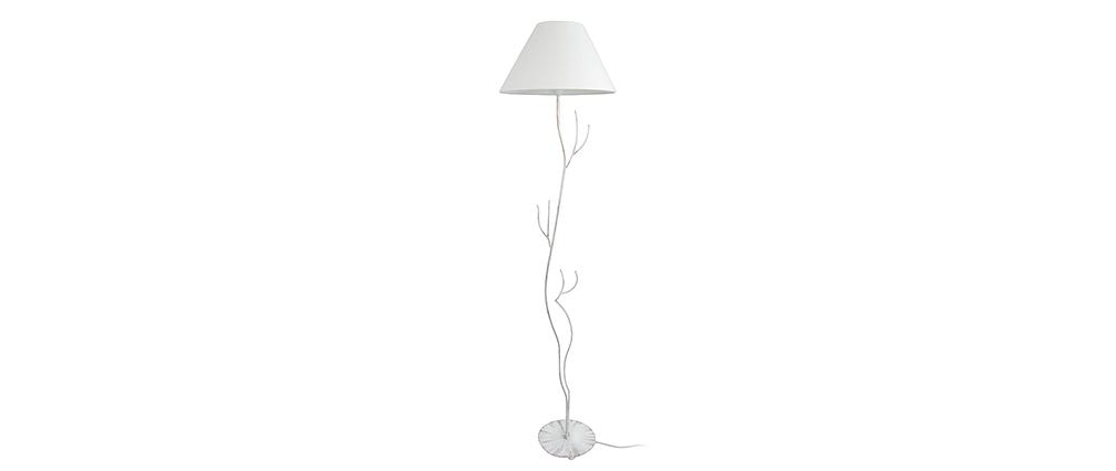 Lampadaire design acier pied arbre blanc ARBORE