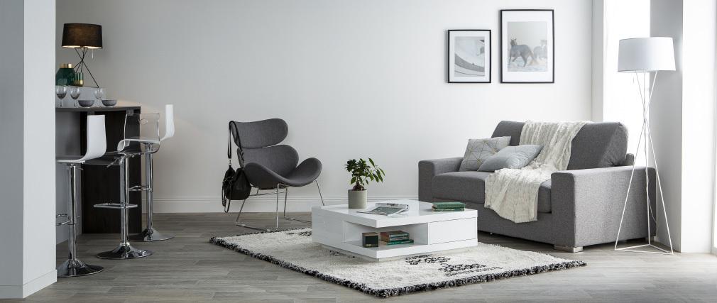 Lampadaire design avec pied métal et abat-jour en tissu blancs GAUDI
