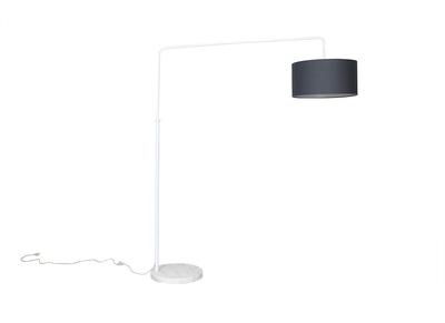 Lampadaire design blanc et abat jour gris TILLIA