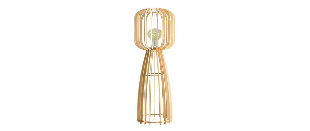 Lampadaire design en bois clair H125 FIJI