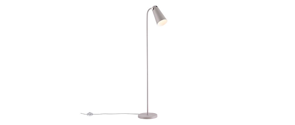 Lampadaire design en métal avec abat-jour gris mat NOVARA