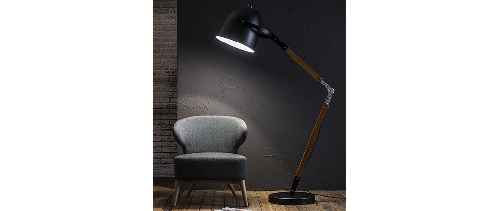 Lampadaire design en métal noir et bois GABY