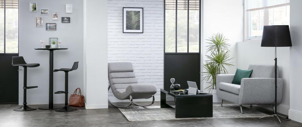 Lampadaire design en métal noir et chrome hauteur ajustable MONI