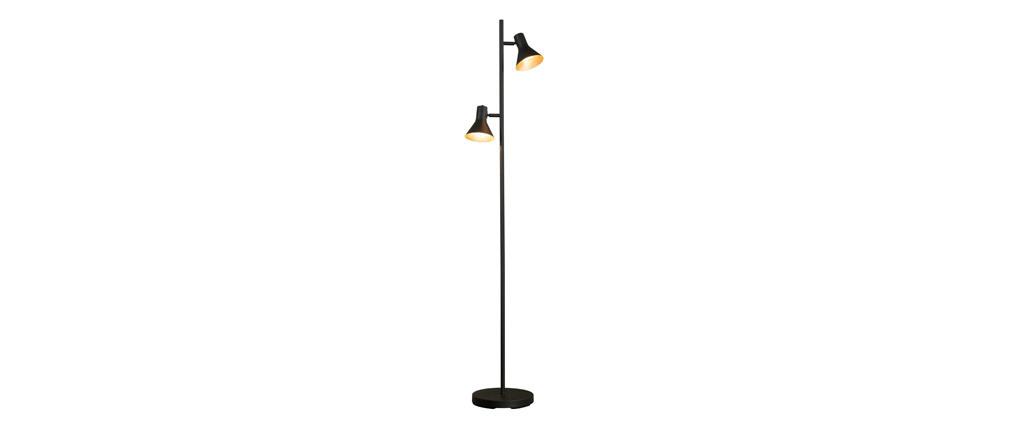 Lampadaire design en métal noir mat et intérieur doré DUO