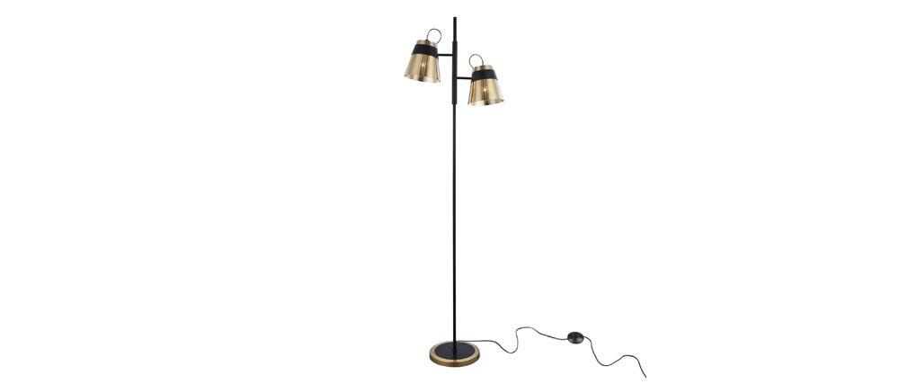 Lampadaire design en métal perforé doré et noir TRENTO