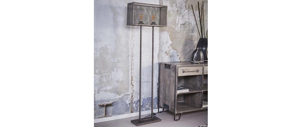 Lampadaire design en métal vieilli perforé 2 lampes GITTER