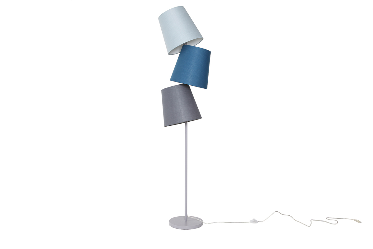 lampadaire design gris bleu baya miliboo. Black Bedroom Furniture Sets. Home Design Ideas