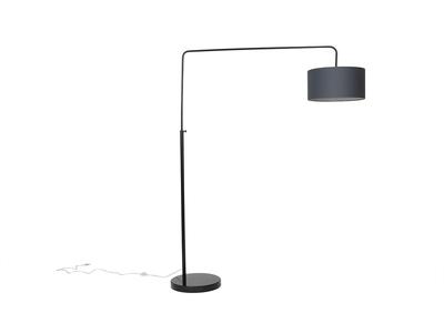 Lampadaire design noir et abat jour gris TILLIA