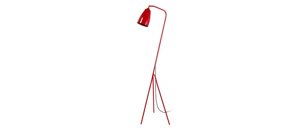 Lampadaire design trépied acier rouge FRIDAY