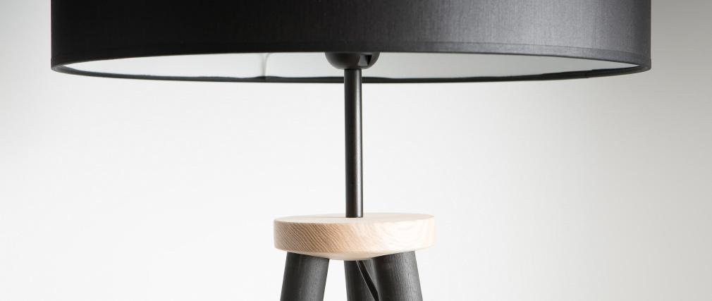 Lampadaire design trépied bois noir TRIPOD