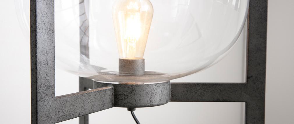 Lampadaire en métal finition argent ancien et globe en verre HALCYON
