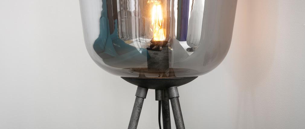 Lampadaire en métal finition argent ancien et globe en verre SMOKE