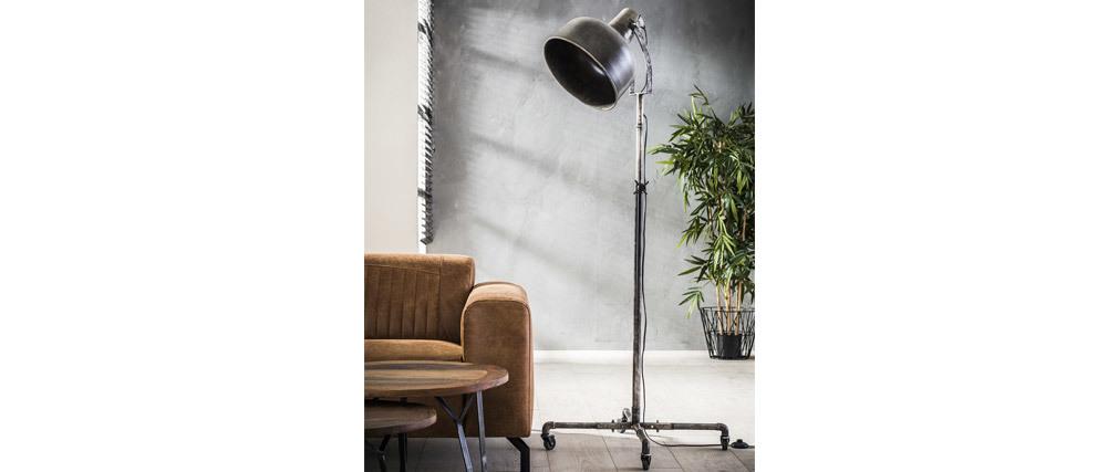 Lampadaire industriel à roulettes en métal vieilli WALKER