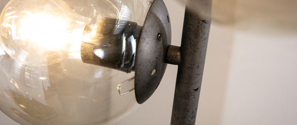 Lampadaire industriel en verre et métal finition argent ancien GLOB