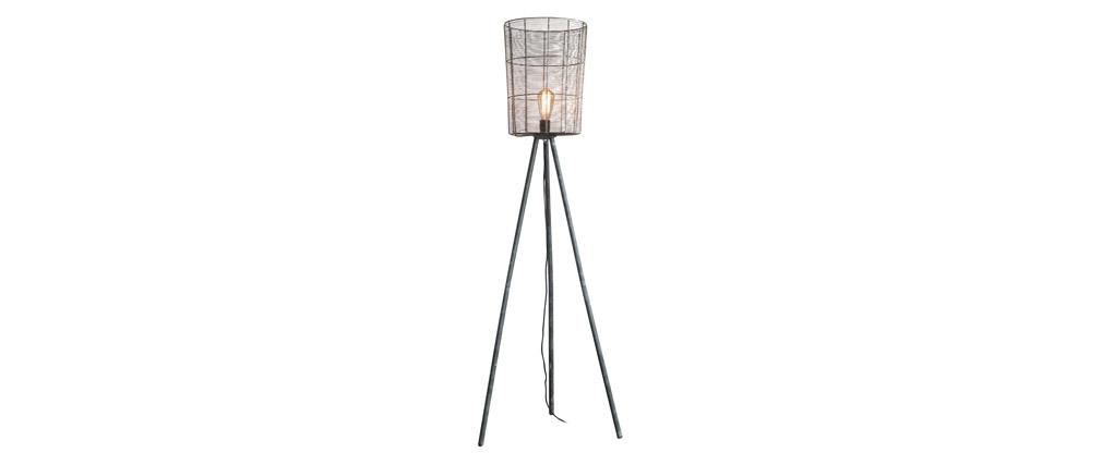 Lampadaire industriel trépied bois et métal gris KORB