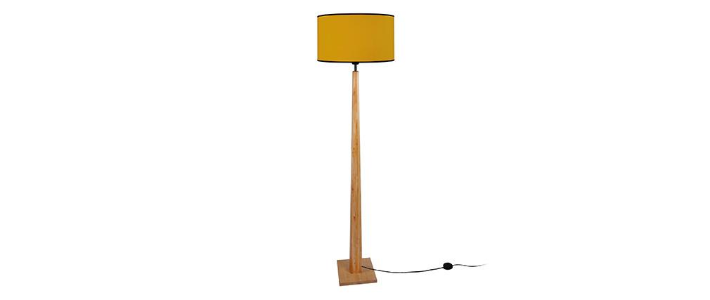 Lampadaire jaune avec pied bois NIDRA