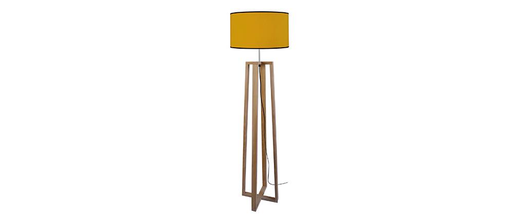 Lampadaire jaune avec piètement croisé bois MANON