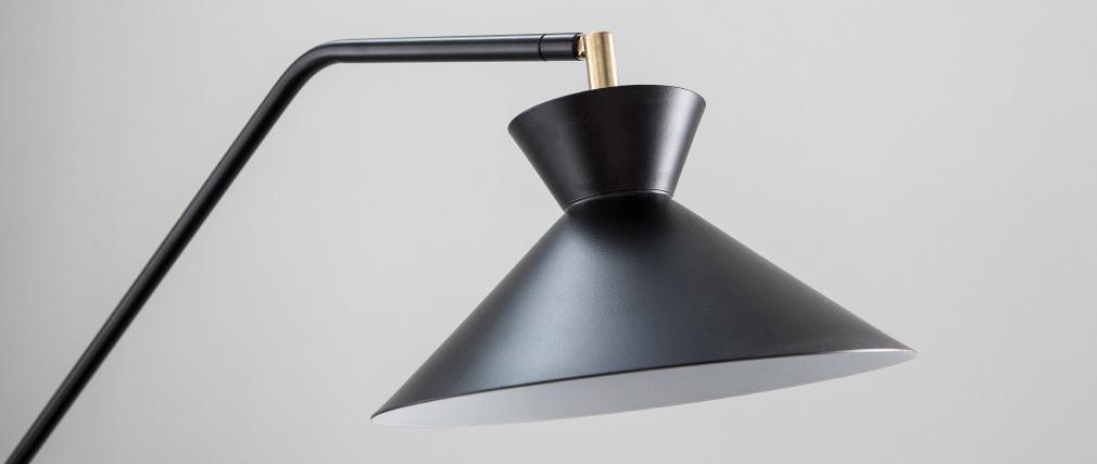 Lampadaire liseuse design acier noir LEEDS