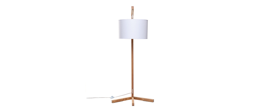 lampadaire scandinave bois et abat jour blanc livy miliboo. Black Bedroom Furniture Sets. Home Design Ideas