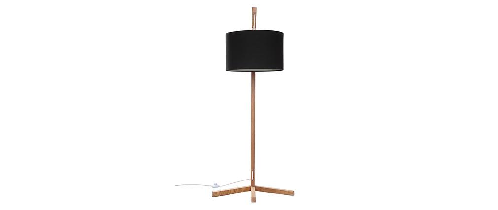 lampadaire scandinave bois et abat jour noir livy miliboo. Black Bedroom Furniture Sets. Home Design Ideas