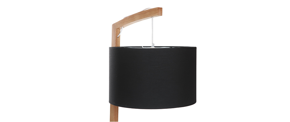 lampadaire scandinave bois et abat jour noir livy miliboo. Black Bedroom Furniture Sets. Home Design Ideas