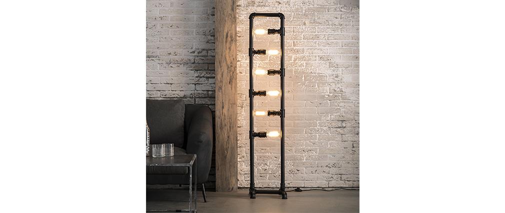 Lampadaire tube industriel en métal 6 lampes SLANG