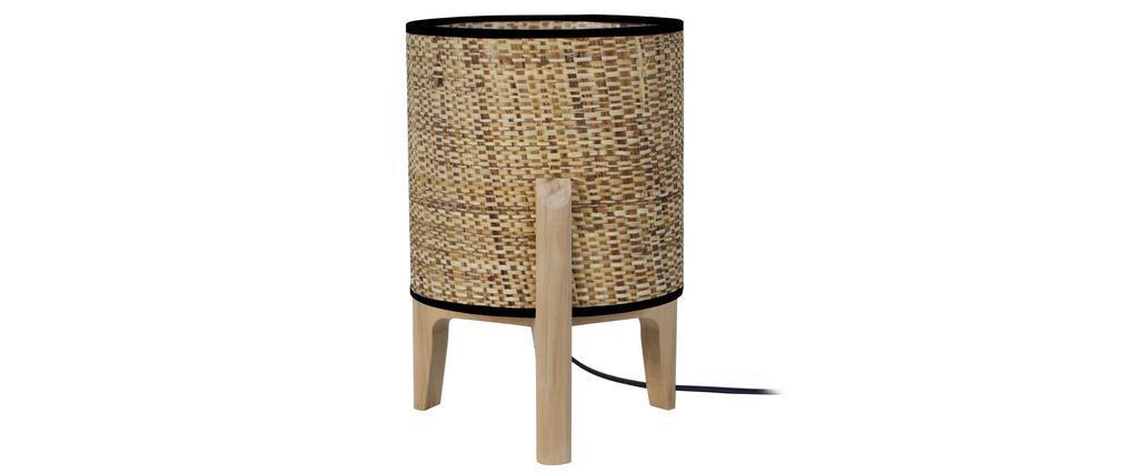 Lampe à poser avec abat-jour en jute et pied en bois H30 cm ALPHA