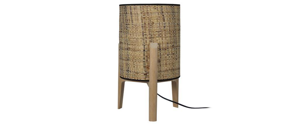 Lampe à poser avec abat-jour en jute et pied en bois H45 cm ALPHA