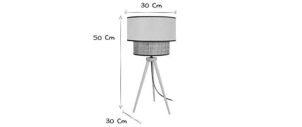 Lampe à poser bimatière jute et tissu bleu grisé CHILL