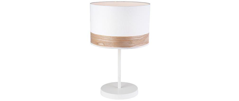 Lampe à poser blanc et bois NANI