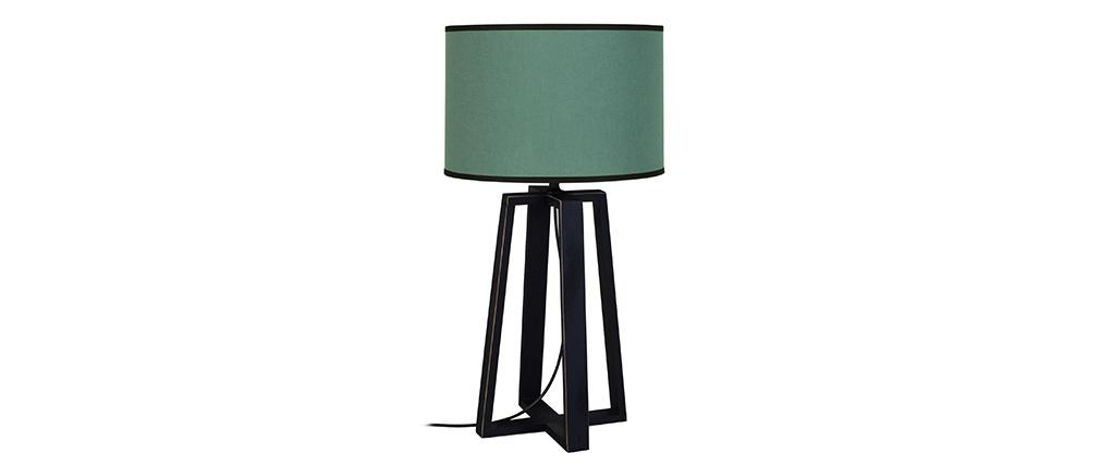 Lampe à poser bleu grisé avec piètement croisé bois MANON
