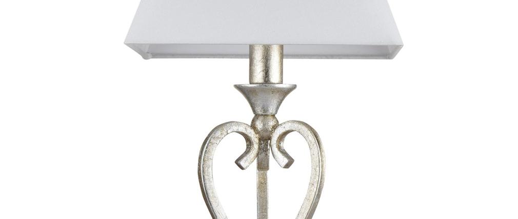 Lampe à poser classique en métal platine et abat-jour blanc ANITA
